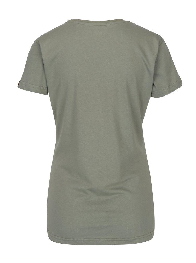 Khaki dámské tričko s potiskem ALPHA INDUSTRIES