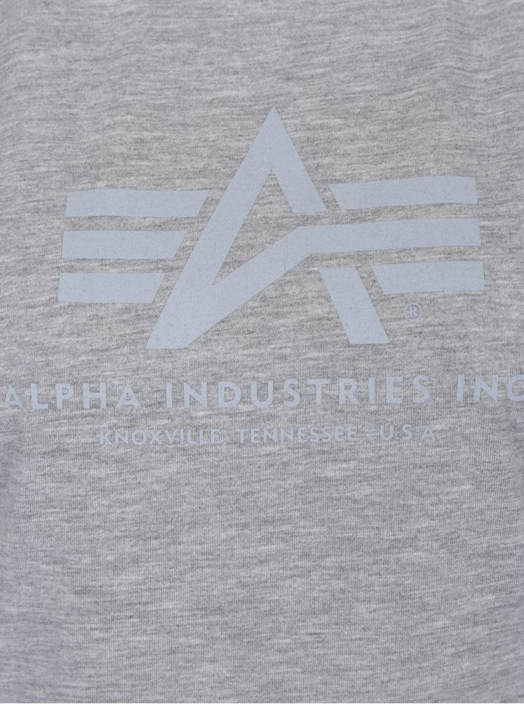 Šedé dámské tričko s potiskem ALPHA INDUSTRIES