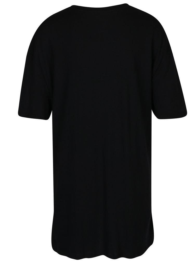 Černé dlouhé tričko s výšivkou TALLY WEiJL