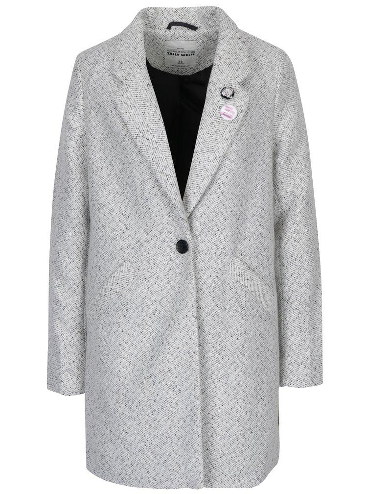 Světle šedý žíhaný kabát s odznaky TALLY WEiJL