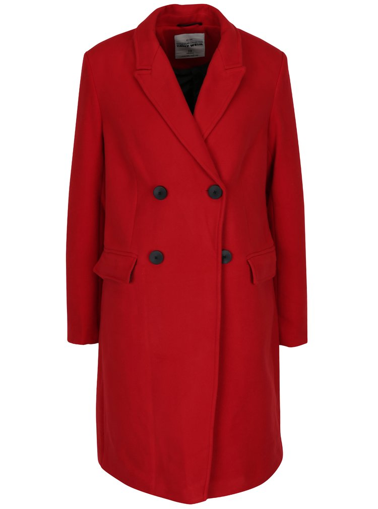 Červený kabát se zapínáním na knoflíky TALLY WEiJL