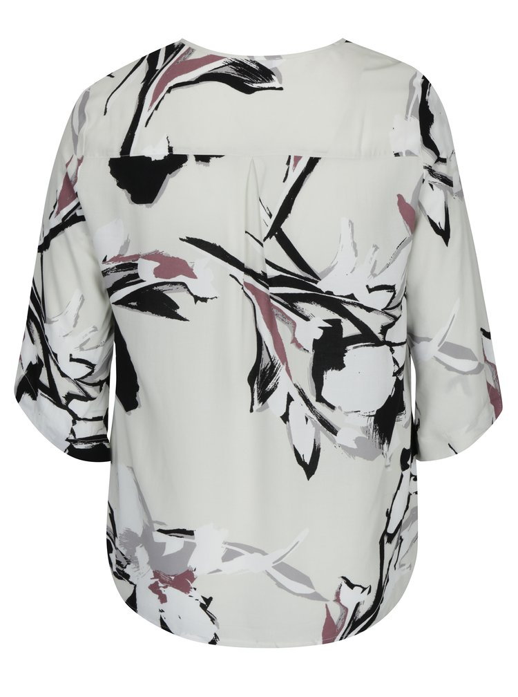 Bluza crem cu print abstract si maneci 3/4 - Gina Laura