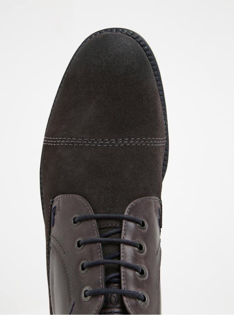 Šedé pánské kožené kotníkové boty s.Oliver