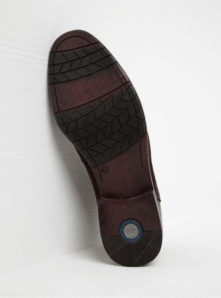 Tmavě hnědé pánské kožené kotníkové boty s.Oliver