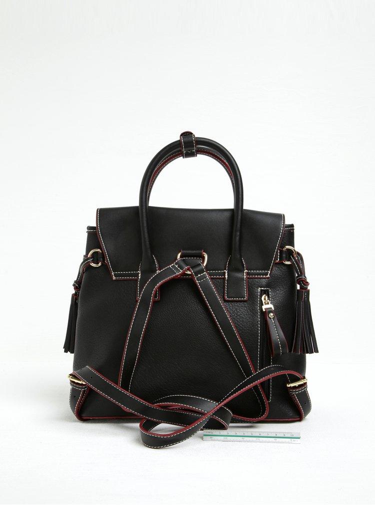 Černý koženkový batoh s červenými detaily Gionni Solaine