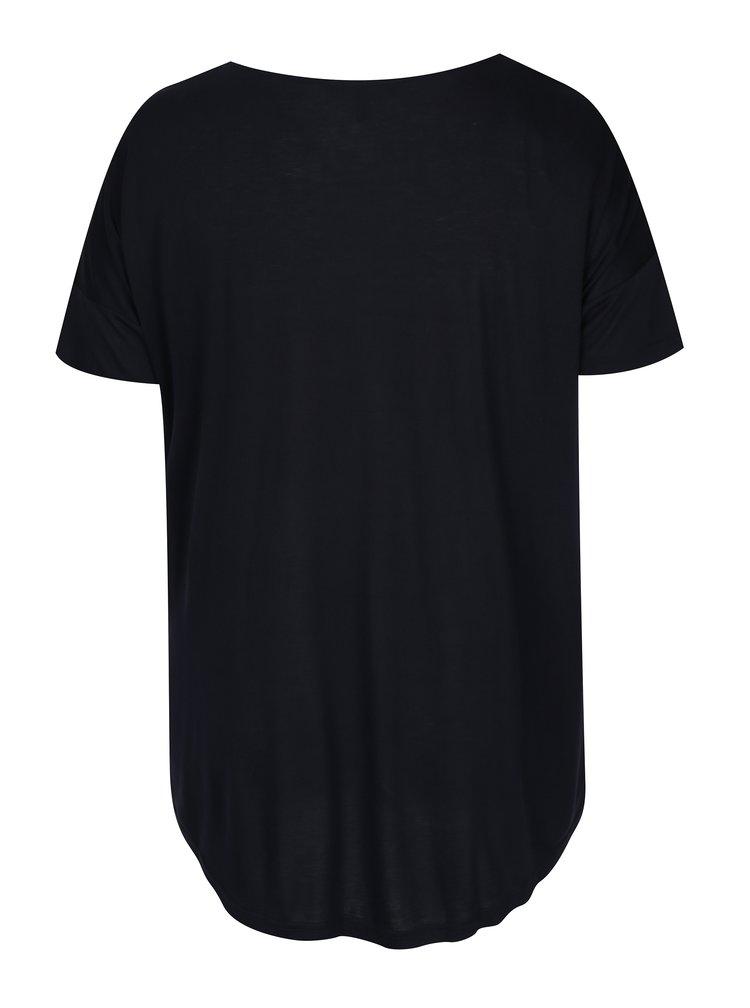 Tricou albastru închis cu print geometric Ulla Popken