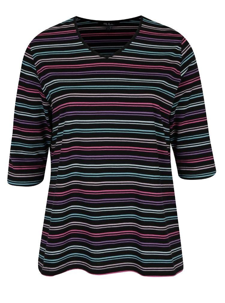 Bluza neagra in dungi cu maneci 3/4 Ulla Popken