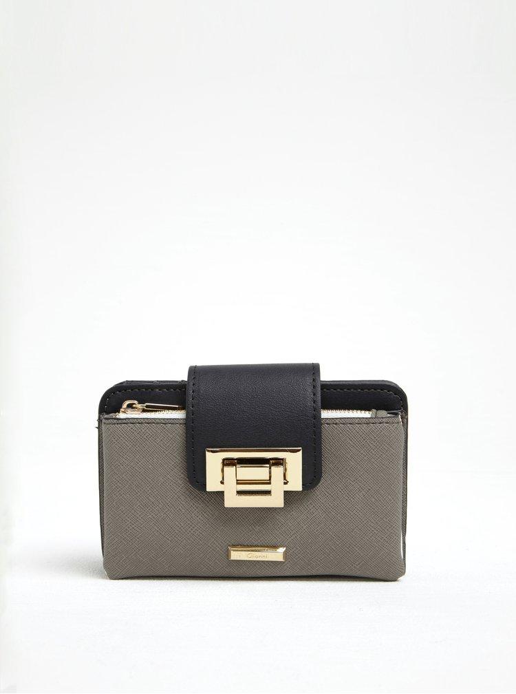 Šedá peněženka se sponou ve zlaté barvě Gionni Lyra