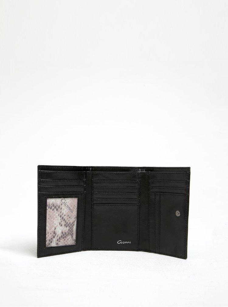 Černá peněženka s detaily ve stříbrné barvě Gionni Nerina