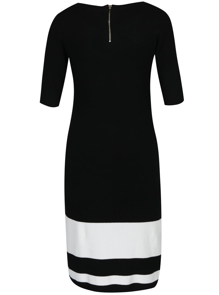 Bílo-černé svetrové šaty s pruhy M&Co
