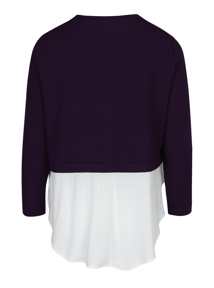 Bluză cu cămașă mov cu alb 2 în 1- Ulla Popken