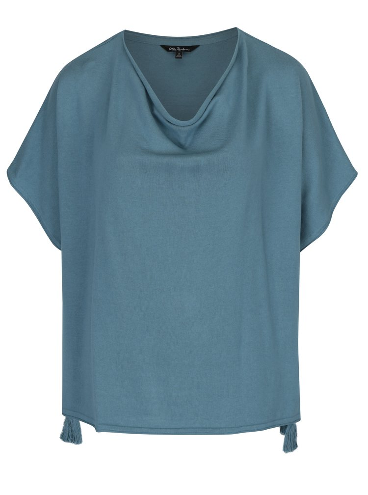 Modrý oversize svetr se střapci Ulla Popken