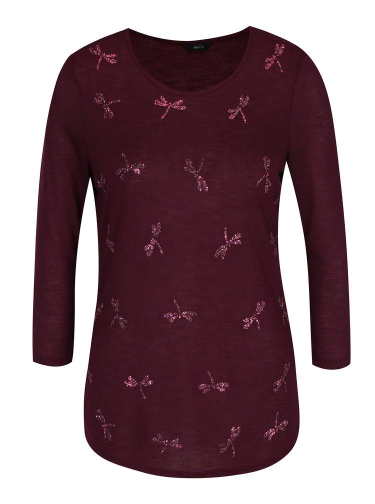 Vínový dámský svetr s plastickým motivem vážek M&Co