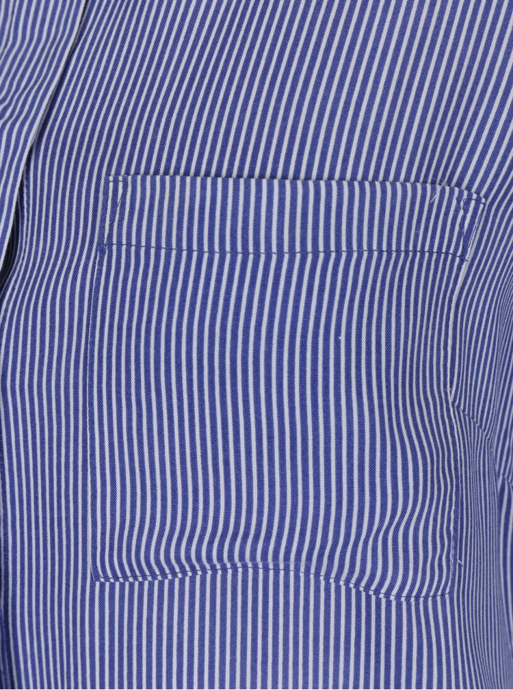 Bílo-modrá dámská pruhovaná košile s výšivkou květin M&Co