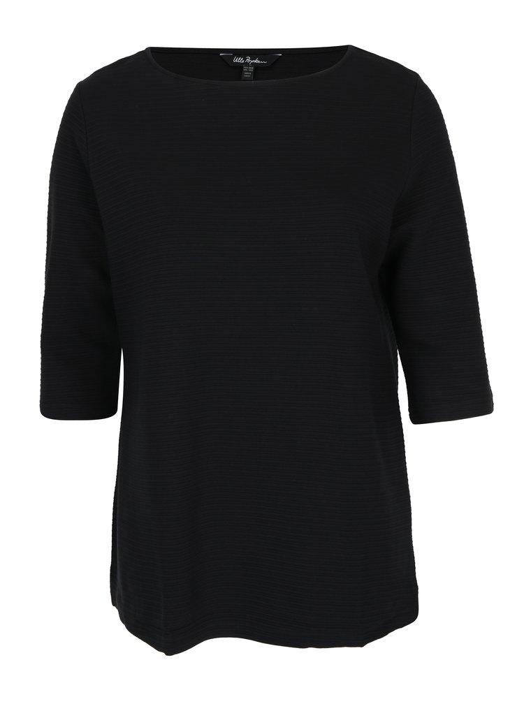 Bluză neagră cu mâneci 3/4 și dungi în relief Ulla Popken