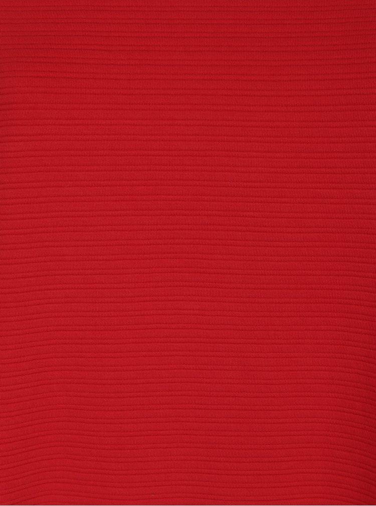 Červená žebrovaná mikina s 3/4 rukávem Ulla Popken
