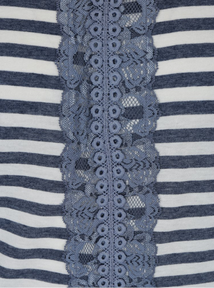 Bluza crem cu bleumarin in dungi cu aplicatie de dantela M&Co
