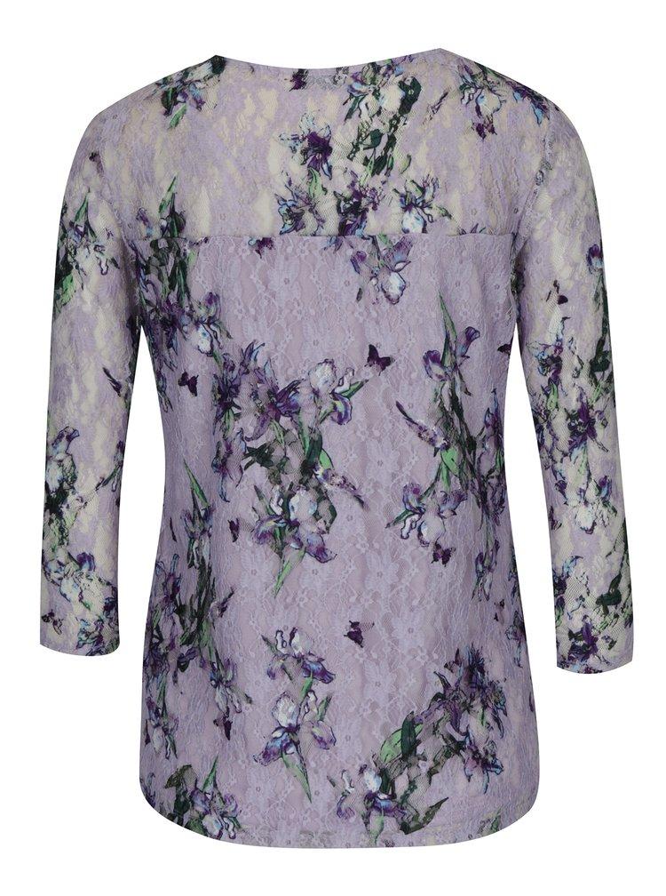 Světle fialové krajkové tričko s 3/4 rukávem M&Co