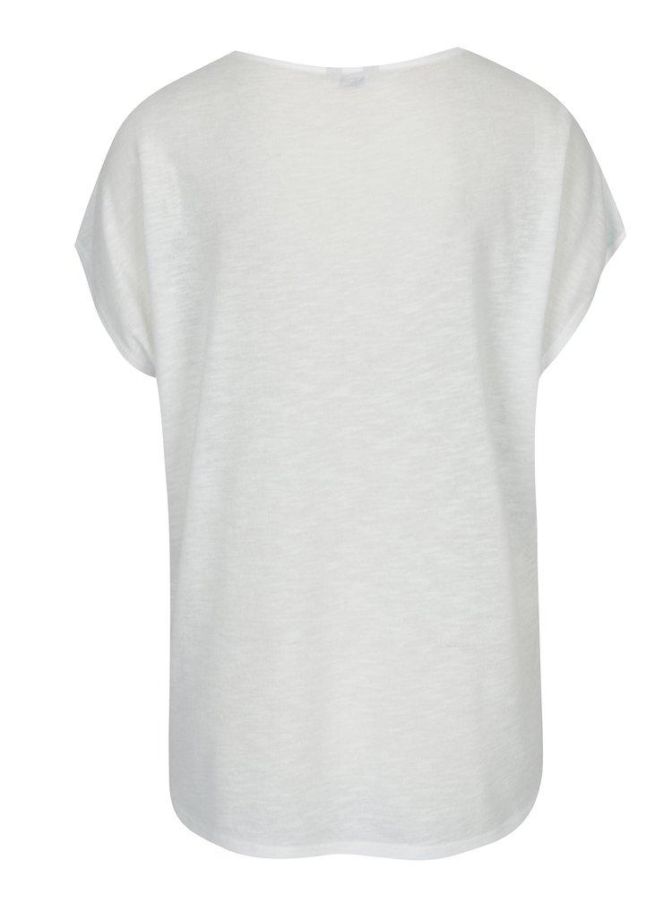 Modro-krémové dámské květované tričko s příměsí lnu M&Co