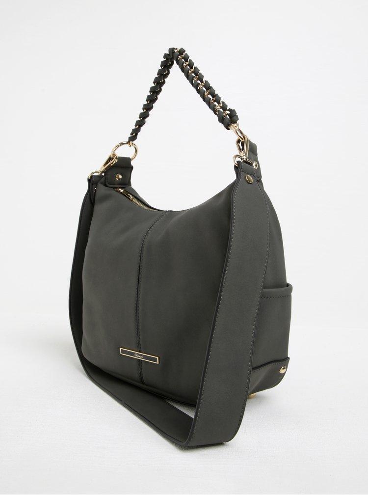 Tmavě šedá kabelka s detaily ve zlaté barvě Gionni Giselle