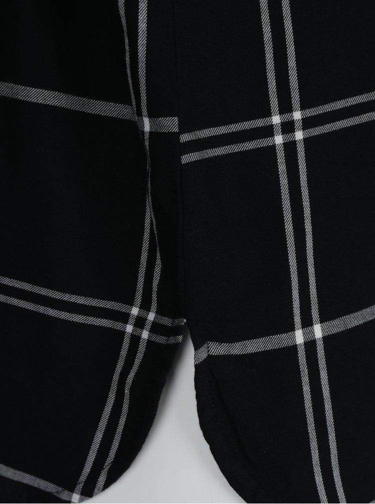 Bílo-černá kostkovaná košile bez límečku Ulla Popken