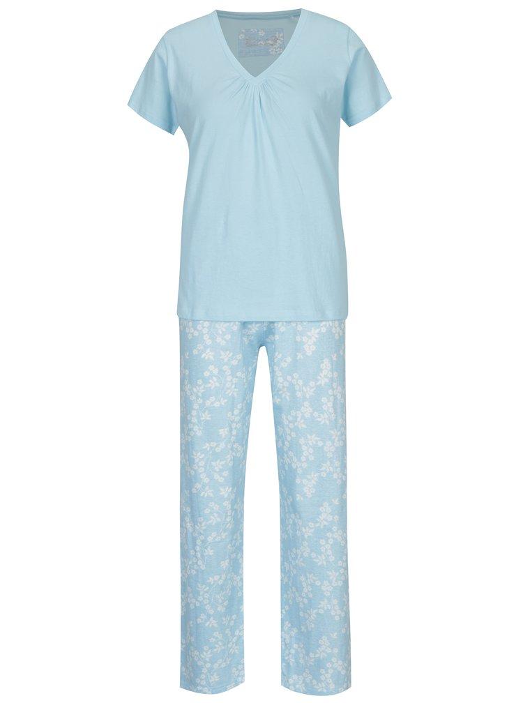 Světle modré dámské květované pyžamo M&Co