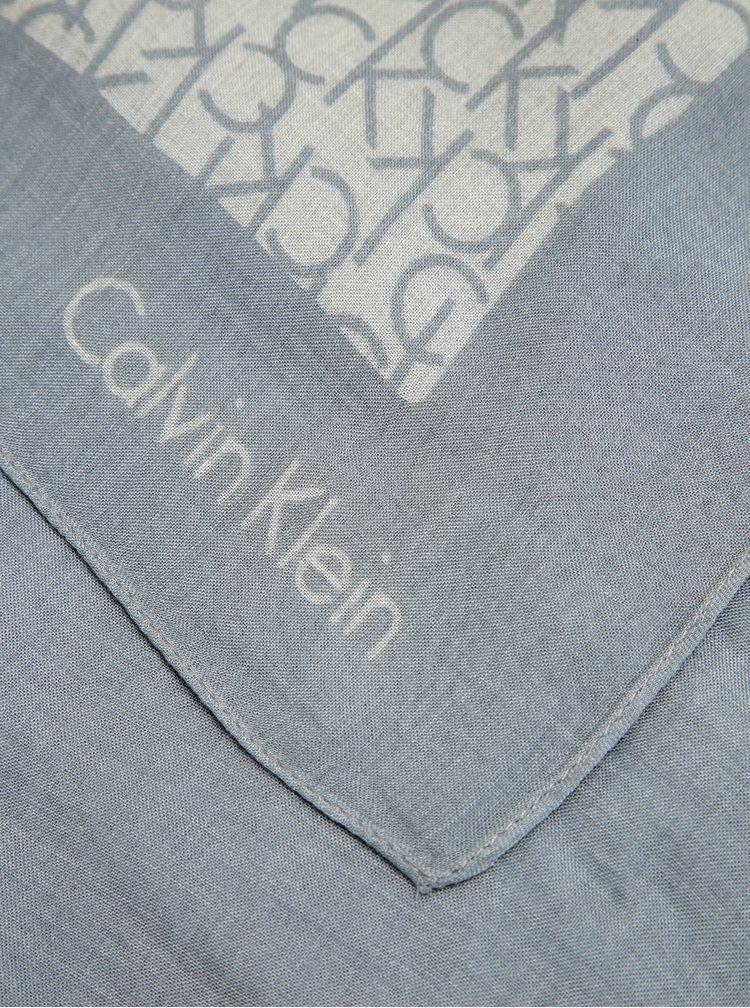 Krémovo-šedý dámský vzorovaný šátek Calvin Klein Jeans Joyce
