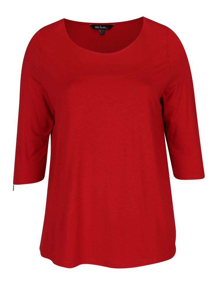 Bluza rosie cu maneci 3/4 si decolteu rotund Ulla Popken