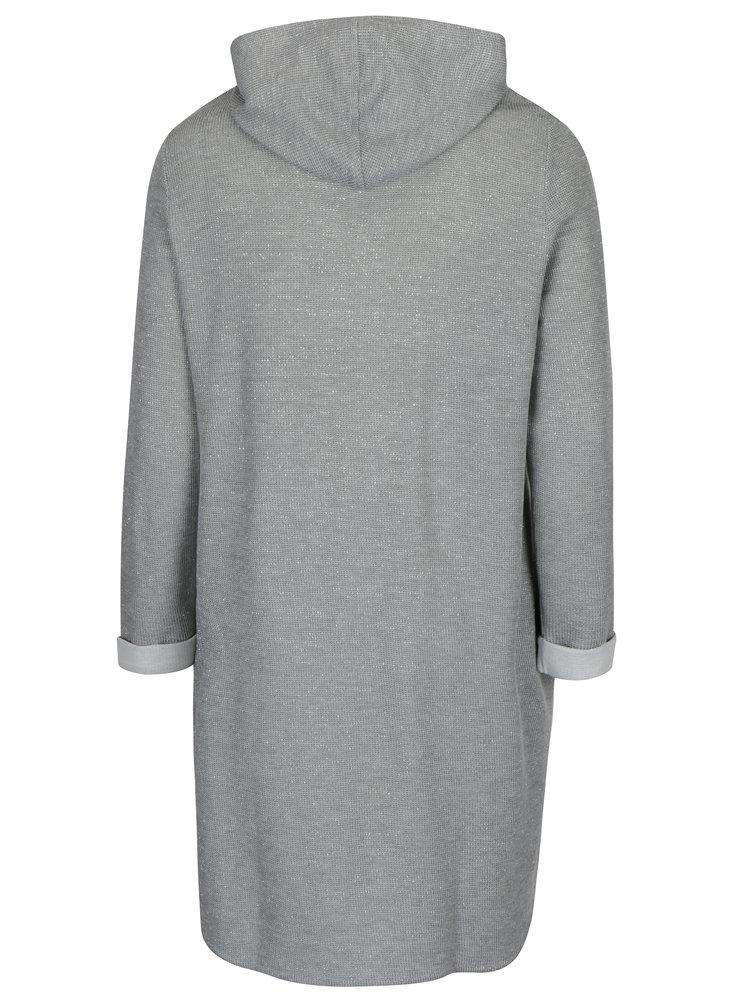 Světle šedé mikinové šaty s kapucí Ulla Popken