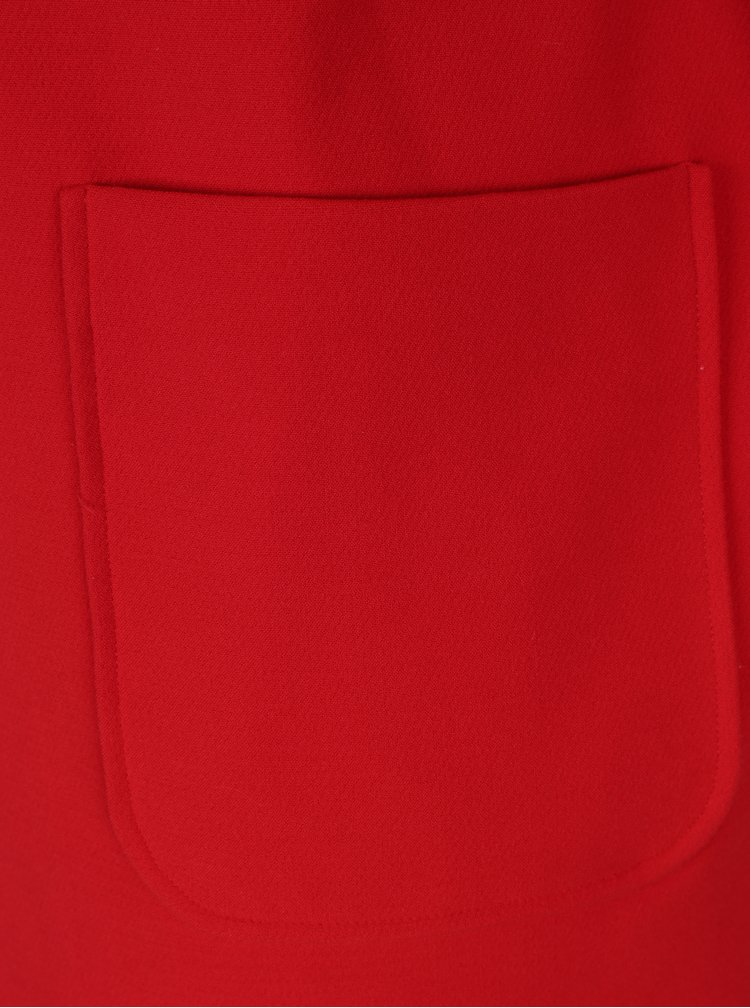 Palton rosu cu guler de blana Ulla Popken