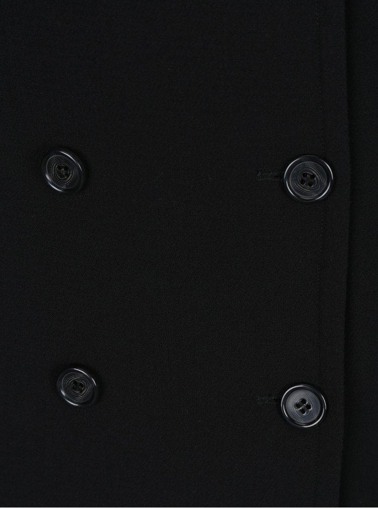 Černý kabát s dvouřadým zapínáním Ulla Popken