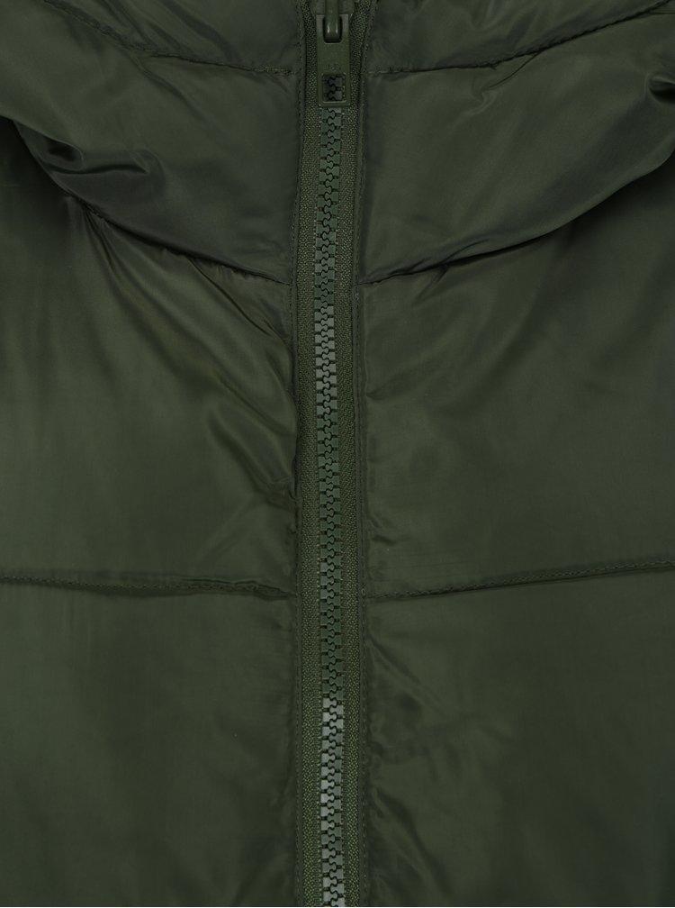 Zelený prošívaný kabát s kapucí Jacqueline de Yong Rocca