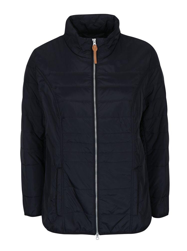 Modrá prošívaná bunda na zip Ulla Popken