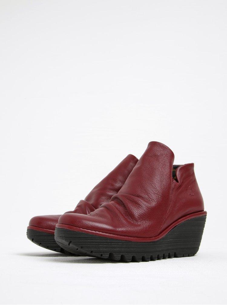 Vínové dámské kožené kotníkové boty na platformě FLY London