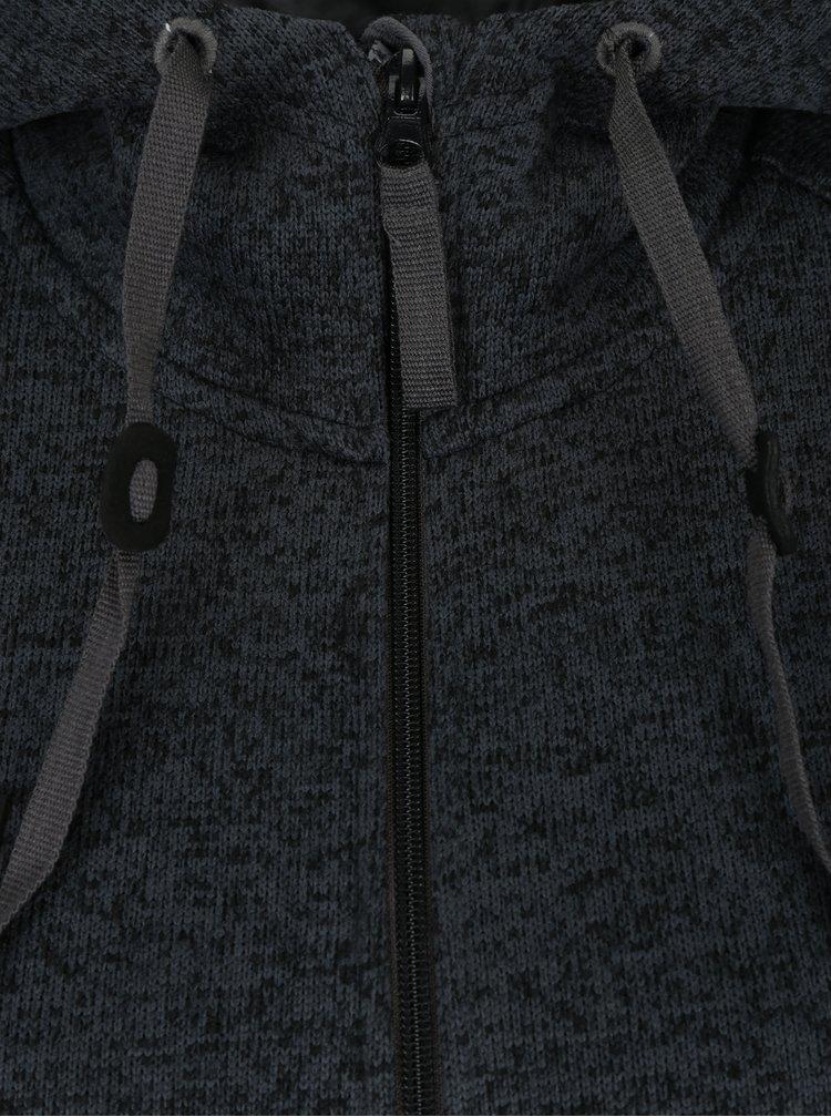 Tmavě šedý dámský dlouhý kardigan na zip s kapucí LOAP Gabina