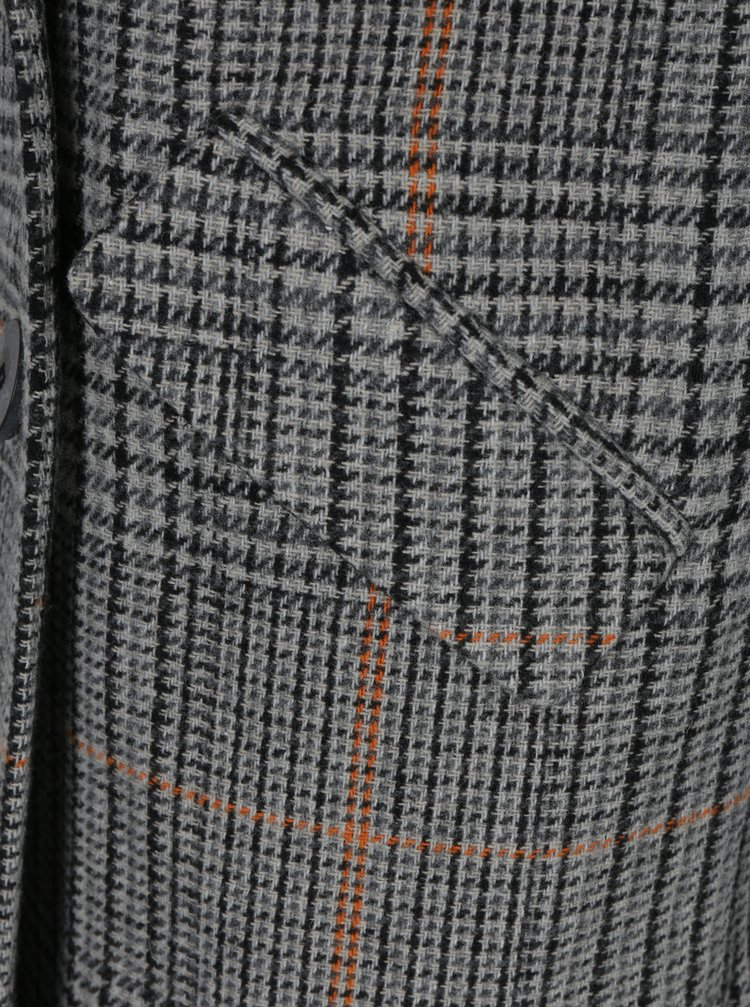 Šedý vzorovaný kabát s příměsí vlny VILA Ikely