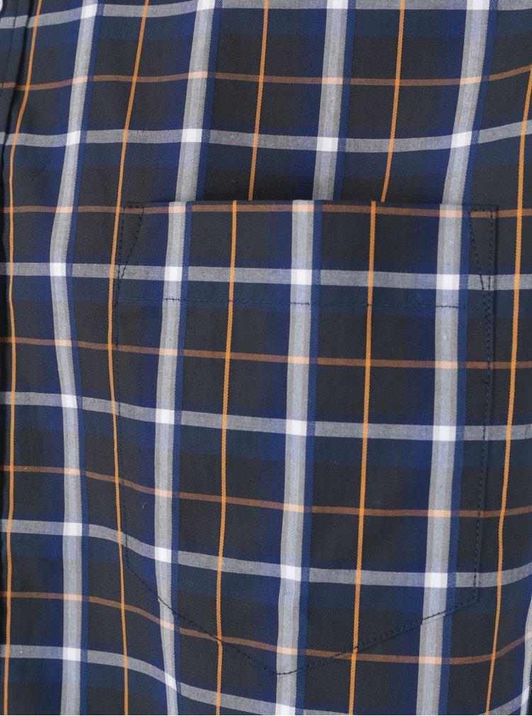 Cămașă albastră casual cu carouri pentru bărbați