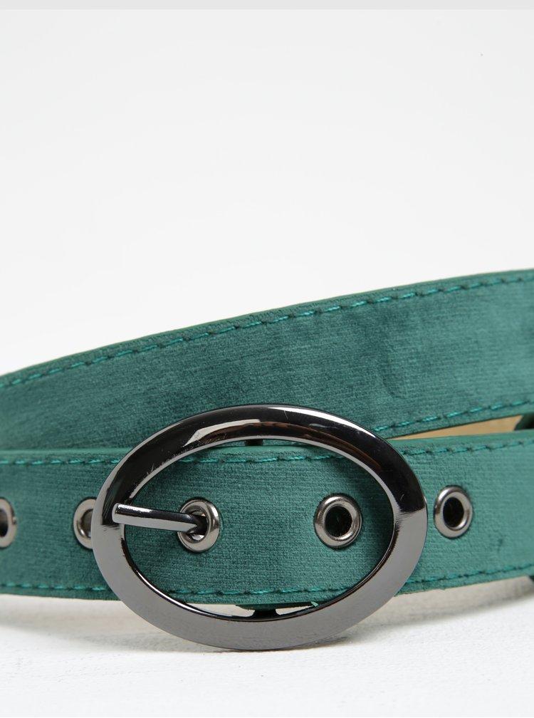 Zelený pásek v semišové úpravě Pieces Jaka