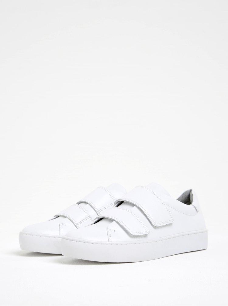 Bílé dámské kožené tenisky na suchý zip Vagabond Zoe