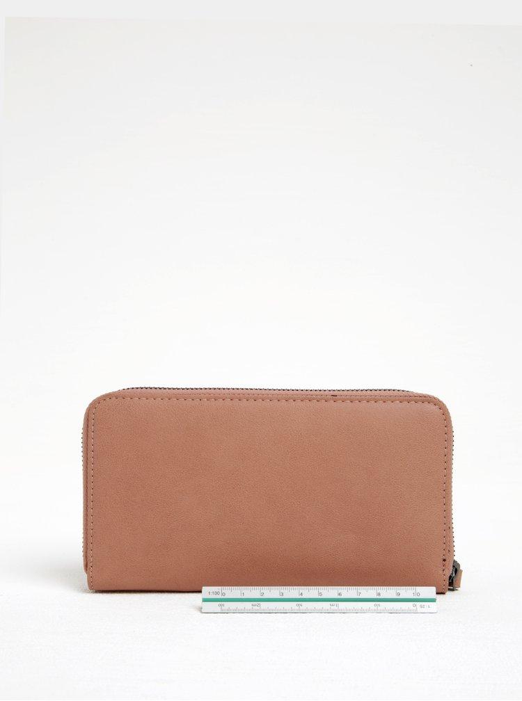 Hnědá peněženka s aplikací ve stříbrné barvě Pieces Jasmina