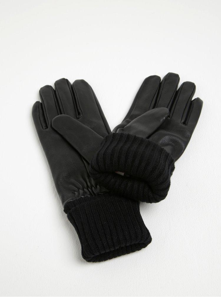 Černé kožené rukavice Pieces Jonja