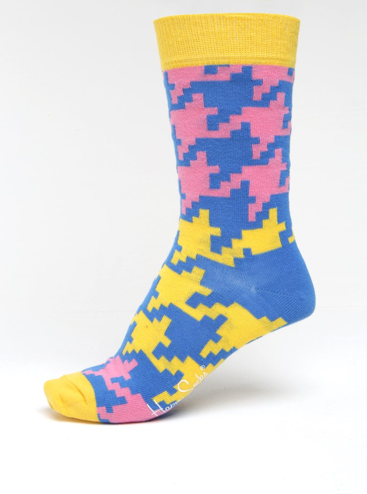 Sosete houndstooth galben & albastru pentru femei - Happy Socks Dogtooth