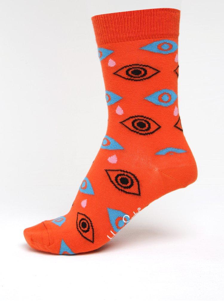 Șosete oranj cu print pentru femei -  Happy Socks Cry Baby