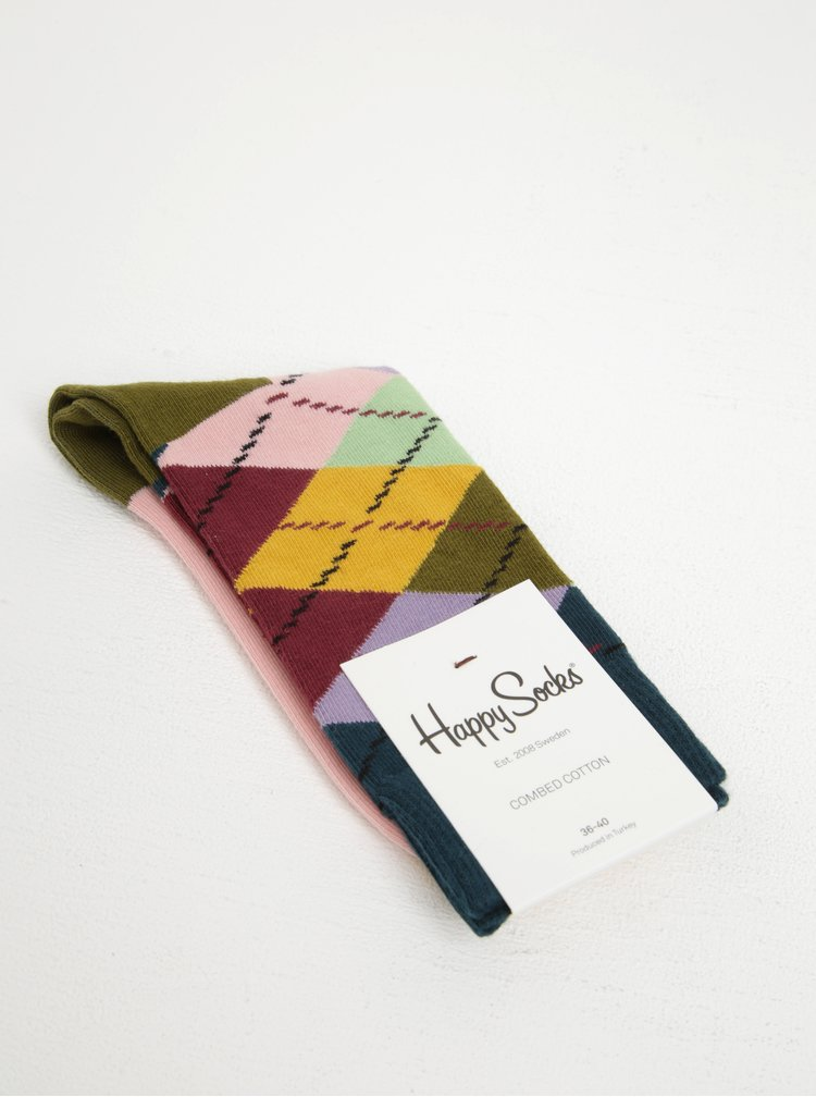 Barevné dámské kárované ponožky Happy Socks Argyle