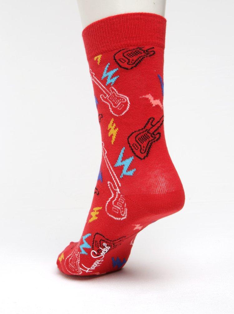 Șosete roșii cu model pentru femei - Happy Socks Guitarra