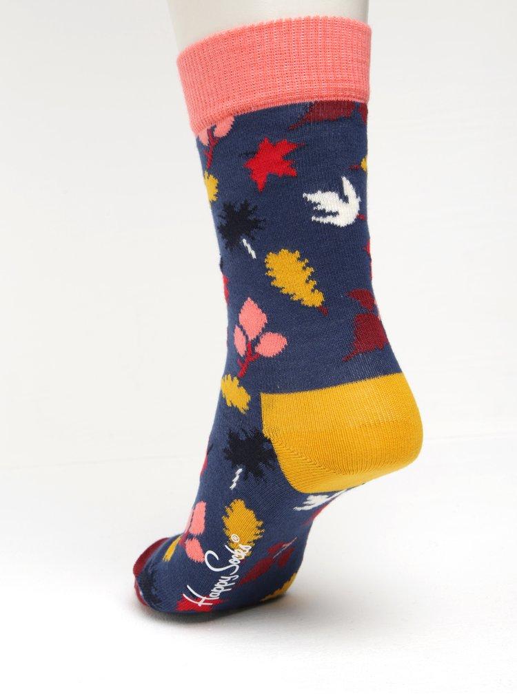Sosete bleumarin cu model cu frunze pentru femei - Happy Socks Fall