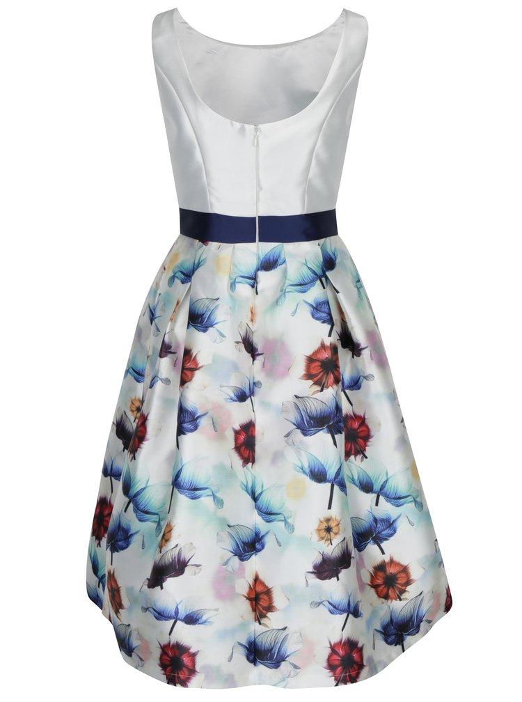 Krémové šaty s květovanou sukní Chi Chi London Omari