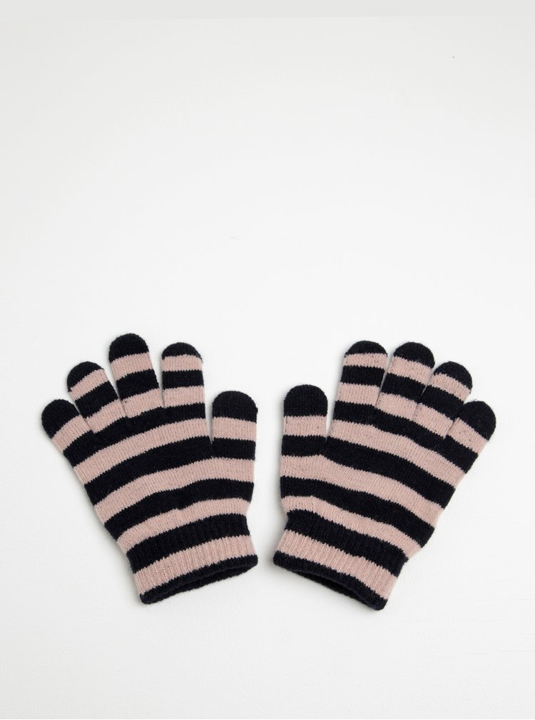 Černo-růžové holčičí pruhované rukavice Name it Magic