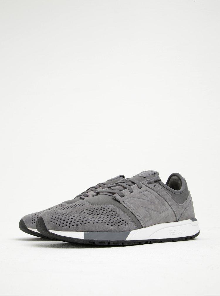 Pantofi sport gri din piele întoarsă New Balance 247