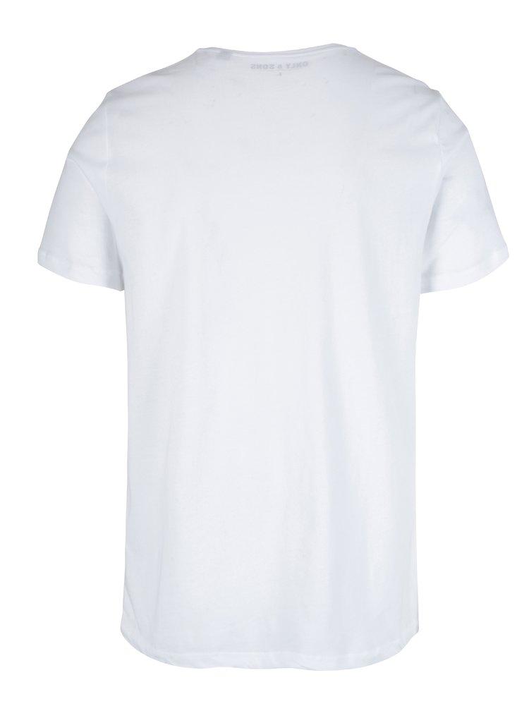 Bílé tričko s potiskem ONLY & SONS Malthe